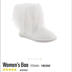 "🌺 BEARPAW; BRAND NEW ""BOO"" White FUN Boots Wmn. 9"